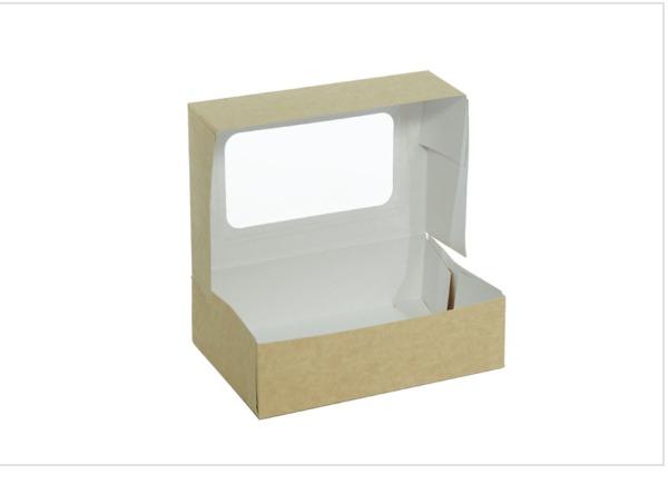 cutie kraft cu autoformare si fereastra pentru cadouri